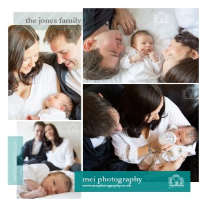 four photos of the family. each photo includes mum, dad and baby in a different pose