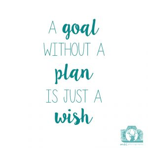 "Teal green writing on a white background which reads ""A goal without a plan is just a wish"" with the Mei Photography Logo"