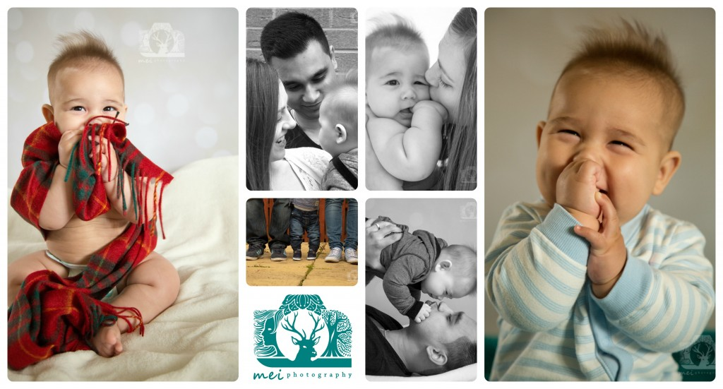 Collage of images from family photo shoot